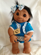 DAM Things Denmark LARGE Blue Summer Dress Girl Troll, 16 inches
