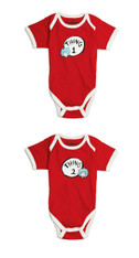 Bumkins Dr. Seuss Both Thing 1 & 2 Classic Short Sleeve Bodysuits