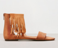 Ellie Fringe Sandal, Leather, Made in Italy, color: Tan