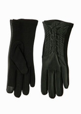 Women's Black Pleather Chain/Jersey Knit Texting Glove