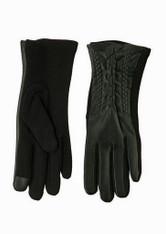 Women's Black Pleather Chain/Jersey Knit Texting Glove