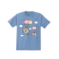 Pusheen Cat & Friend Stormy with Balloons - Junior's Medium Size T-Shirt, Light Blue