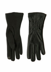 Women's Black Pleather Diamond/Jersey Knit Texting Glove