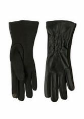 Women's Black Pleather Diamond/Jersey Knit Texting Glove