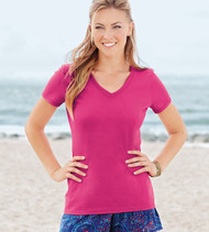 L39VR FRUIT OF THE LOOM HEAVY COTTON HD LADIES' V-NECK TEE