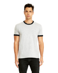 3604 Next Level Men's Cotton Ringer Tee  (Heather Gray/Black)