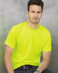 2300 GILDAN ULTRA COTTON ADULT TEE WITH POCKET  (Safety Green)