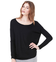 8852 BELLA + CANVAS WOMEN'S FLOWY LONG SLEEVE TEE WITH 2X1 SLEEVES  (Black)