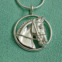 Sterling Silver Horse Head in Circle Pendant Necklace