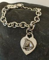 Sterling Silver Tiffany Style Hunter Jumper on Heart Bracelet