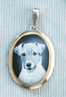 Sterling Silver Jack Russell Cameo Pendant