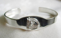 Sterling Silver Large Dressage Horse I.D. Cuff Bangle Bracelet.