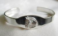 Sterling Silver Large Dressage Horse I.D. Cuff Bangle Bracelet.