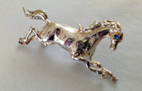 Sterling Silver Leaping Horse Pin with Sapphire Eye