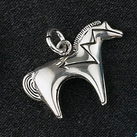 Sterling Silver Medium Heartline Horse Charm or Pendant