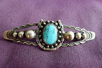 Sterling Silver Old Pawn Horseshoe Pin with Turquoise (EA0760)
