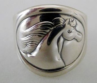 Sterling Silver Oval Fantasy Horse Ring