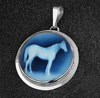 Sterling Silver Round Horse Cameo Pendant