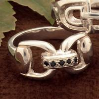 Sterling Silver Sapphire Bit RING