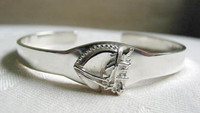 Sterling Silver Slim Dressage Horse I.D. Cuff Bangle Bracelet.