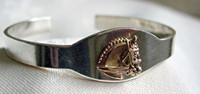 Sterling Silver Slim I.D. Cuff Bangle Bracelet with 14k Gold Dressage Horse Head.