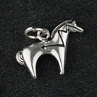 Sterling Silver Small Heartline Horse Pendant or Charm