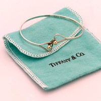 Vintage 14k Gold and Sterling Silver signed Tiffany Heart Bangle Bracelet.