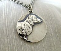 Sterling Silver Dachshund Pendant on a  Chain