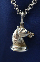 Sterling Silver Horse Fob Pendant  Necklace with Sapphire Eyes.