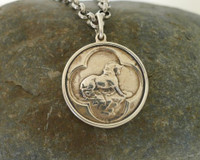 Sterling Silver Necklace from a Civil War Era  Button