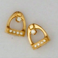 14k Yellow or White Gold Stirrup Stud Earrings with Diamonds