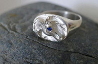 14k yellow or white gold  Arabian Horse Head Ring with Sapphire Eye