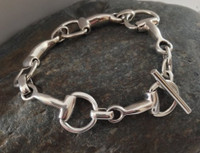 Classic Sterling Silver Half D-Bit Bracelet with Toggle Clasp
