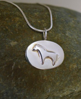 Sterling Silver Oval Heartline Horse Pendant on Chain