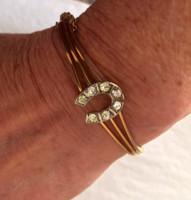 Antique Gold-Filled Horseshoe  Bracelet with Paste Stones