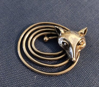 Antique Deco-Style Fox Mask Pin