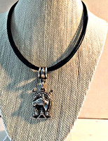 Vintage Kieselstein-Cord Horse Head on a New Black Multi-Strand Necklace