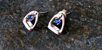 Sterling Silver Stirrup Stud Earrings with Sapphires