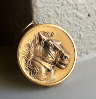 Victorian Art Nouveau Horse Head Locket and Chain