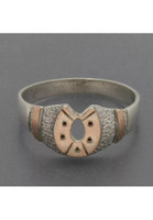 Vintage Rose Gold and Sterling Horseshoe Ring Size 8.5