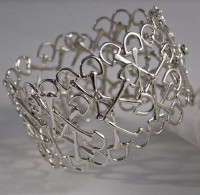 "Sterling Silver  ""Mixed Up Bits"" Snaffle Bit Cuff Bracelet"