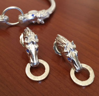 Sterling Silver Horse Head Door Knocker-Style Earrings