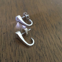 Sterling  Silver Horseshoe Nail Pierced Earrings