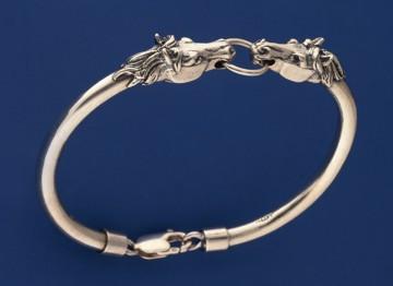 Sterling Silver Horse Head Semi-Bangle Bracelet