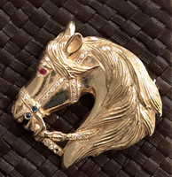 14k Gold Majestic Stallion Horse Head Pin or Pendant