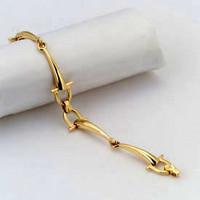 14k Gold Sophisticated Two Snaffle Bits Bracelet