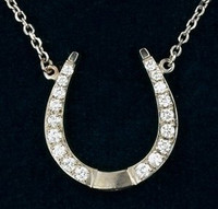 14k Gold and Diamond Designer Horseshoe Pendant