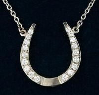 14k Gold and Diamond Designer Horseshoe Pendant