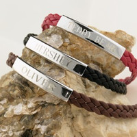 """Sterling silver and black leather woven """"HERSHEY"""" nameplate bracelet."""