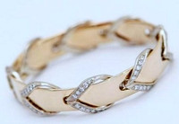 """14k White and Yellow Gold """"Leather Rein"""" Bangle Bracelet with Diamonds"""